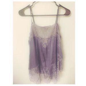 Purple silk night slip with lace